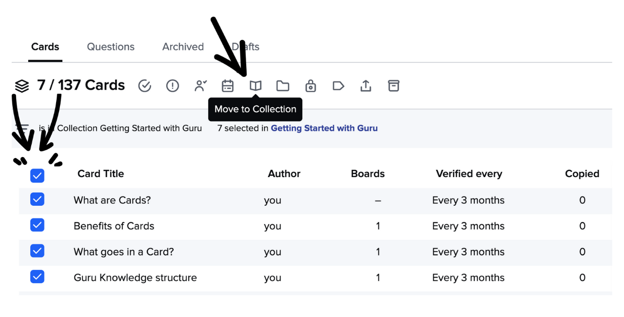 Move Cards to a different Collection via the Card Manager